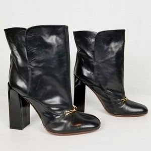 Celine Paris patent leather block heel bootie 38.5